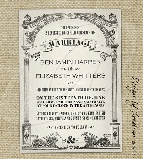 Wedding Announcement Vintage by Pink Wedding Invitations