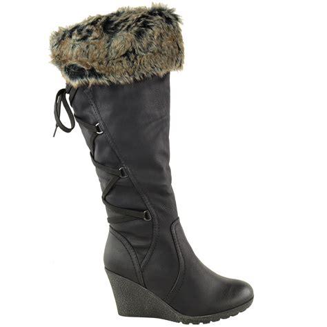 womens mid wedge high heel fur lined warm winter