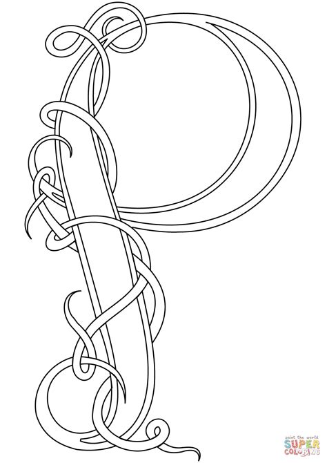celtic letter coloring page celtic style letter p coloring page free printable