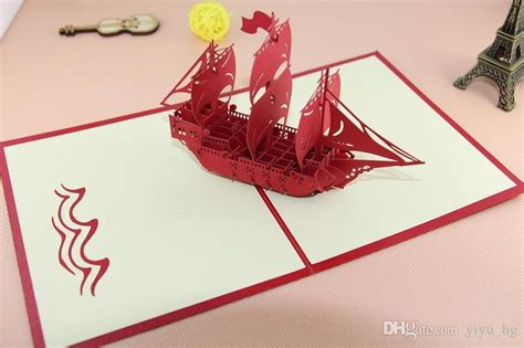 Origami Birthday Gifts - the creative sailing boat handmade kirigami origami 3d