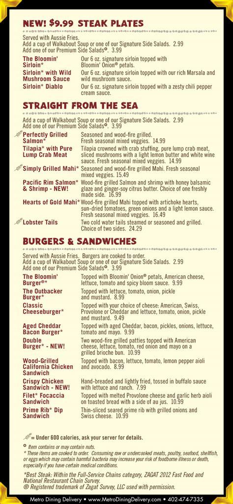 Outback Steak House Menu by Outback Steakhouse Dinner Menu Lincoln Ne Provided By