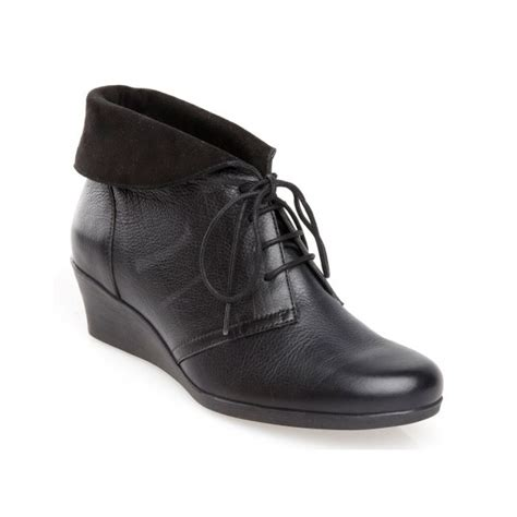 nantucket black leather wedge ankle boot