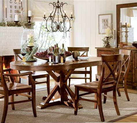 Pottery Barn Benchwright Table by Benchwright Extending Pedestal Dining Table Rustic