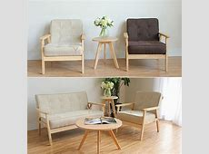 Minimalist modern design Solid Wooden Fabric Padded Living ... Wooden Simple Sofa Chair