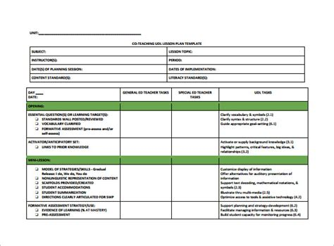 unit plans templates for teachers lesson plan template 9 free sle exle