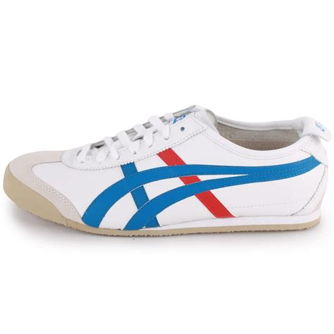 mexico 66 shoes onitsuka tiger mexico 66 mens leather fabric white blue