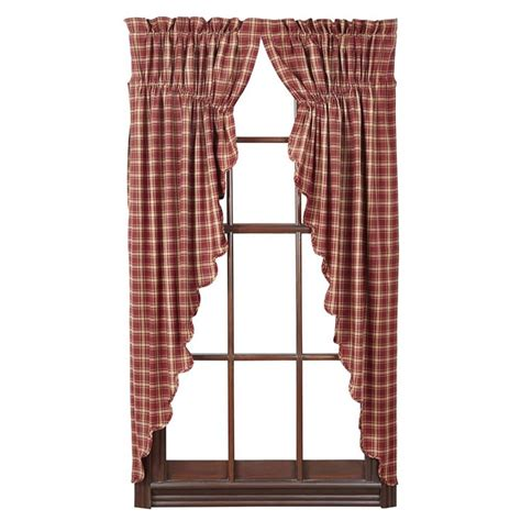 prairie curtains vhc brands kendrick rod pocket prairie curtain in red set
