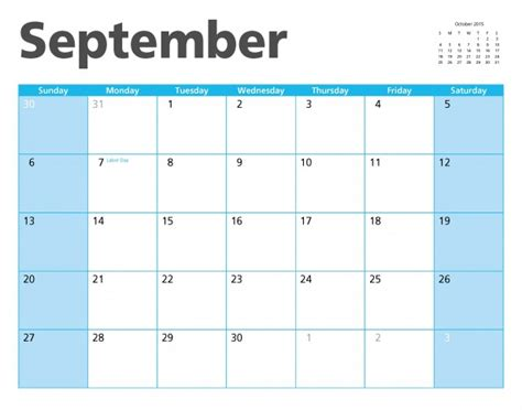 Calendar September 2015 September 2015 Calendar Page Free Stock Photo