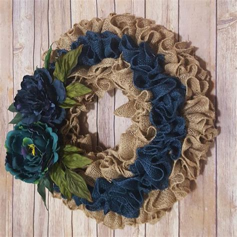 navy blue peony  burlap wreath  front door year
