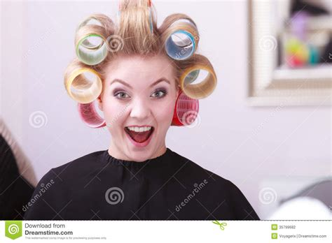 women in hair rollers cheerful happy blond girl hair curlers rollers hairdresser