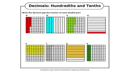diagram decimals search results for hundredths and tenths worksheets