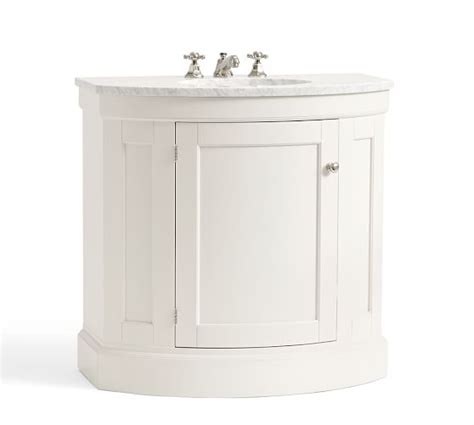 demilune bathroom vanity brinkley demilune single sink console white pottery barn