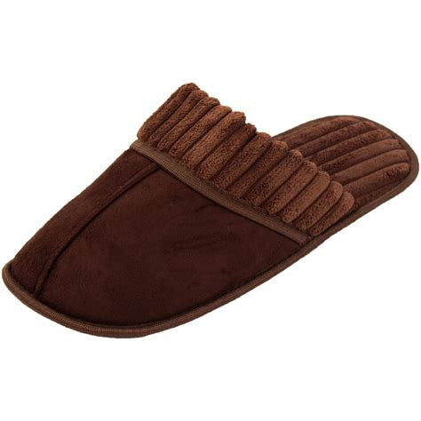 house shoe socks mens slippers slip on house shoe scuff fleece faux suede clog indoor outdoor new ebay