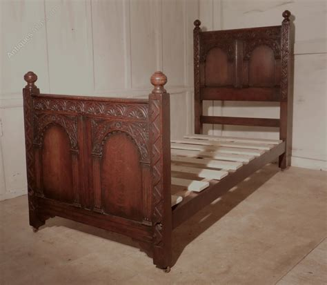 victorian bed a superb victorian gothic carved oak single bed antiques