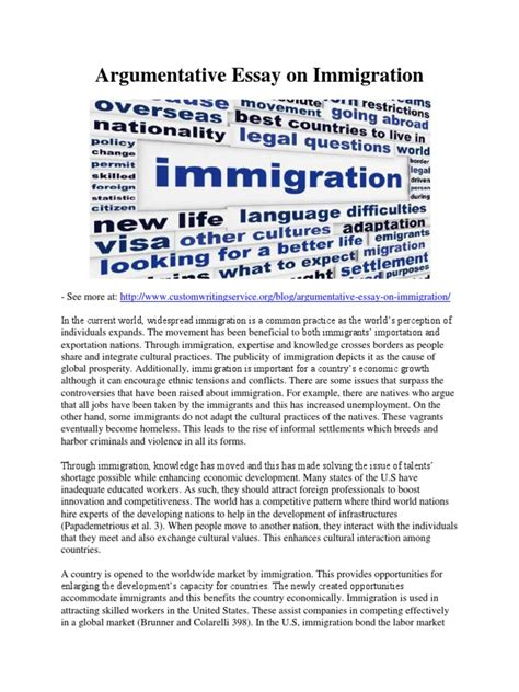 Argumentative Essay On Immigration by Argumentative Essay On Immigration