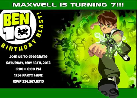 Ben 10 Birthday Invitation Cards Templates by Ben 10 Printable Supplies