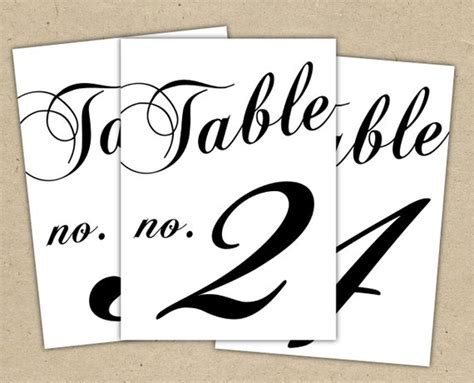 Black Table Numbers Printable Template Instant Download Table Number Template Word