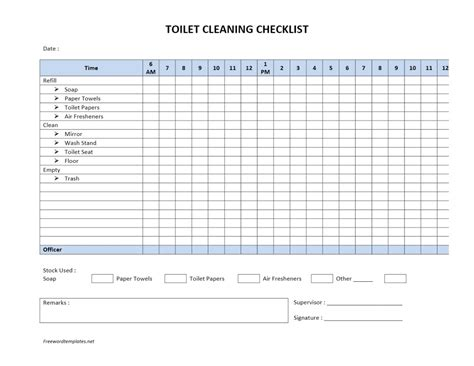 Toilet Cleaning Checklist Cleaning Checklist Template