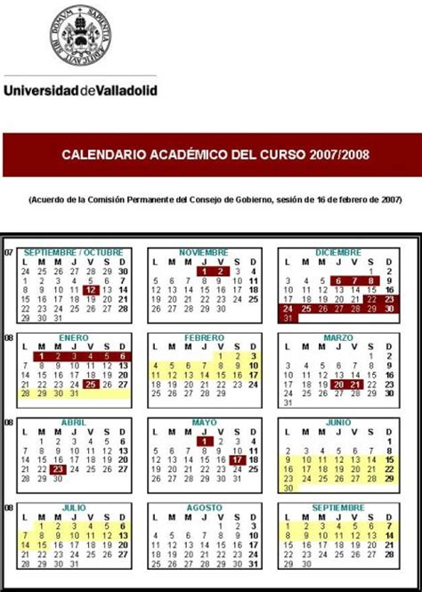 Calendario R Valladolid Calendario Acad 233 Mico Universidad De Valladolid 2007 2008