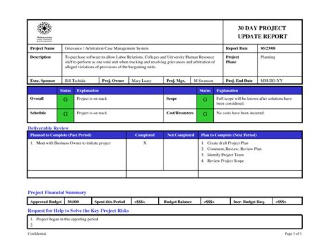 project update report template project status report template powerpoint free business