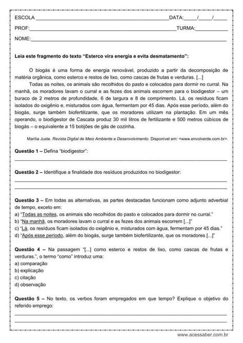 Atividade de português: Adjunto adverbial de tempo - 9º ano