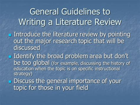 Research Literature Review Guidelines writing a literature review ppt
