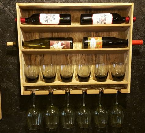country rustic wine rack with stemmed and stemless wine