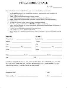 Sle Sales Contract Template by Firearm Bill Of Sale