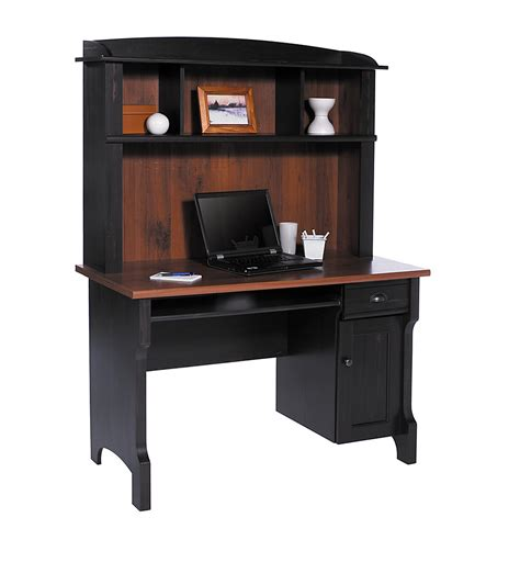 Laptop Mini Desk Realspace Shore Mini Solutions Computer Desk W Hutch Antique Black 616100 Desks Home