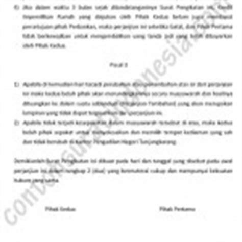 contoh surat perjanjian sewa kontrak rumah surat bisnis