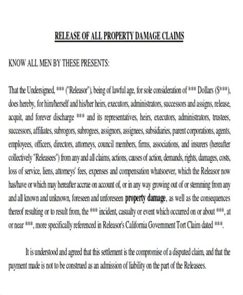 Release Letter For Damages Sle Property Damage Release Form 9 Exles In Word Pdf