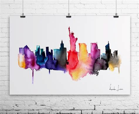 watercolor tattoo new york city new york city watercolor painting print artistic