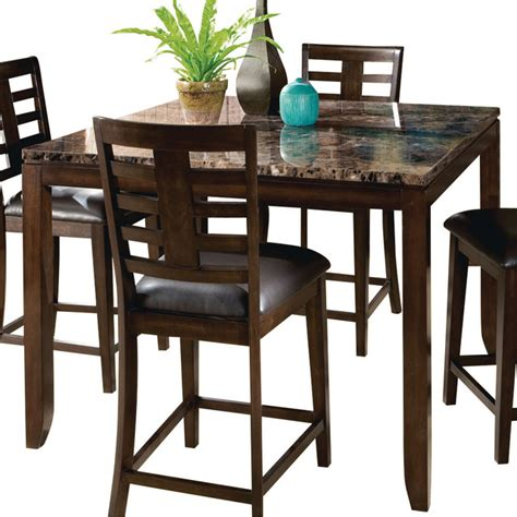 Dining Table Standard Height Standard Furniture Square Counter Height Table With Faux Marble Top Traditional Dining