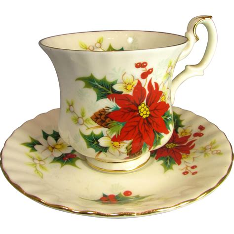 royal albert poinsettia christmas cup and saucer from