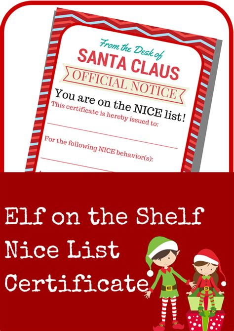 printable elf on the shelf certificate elf on the shelf nice list certificate printable a