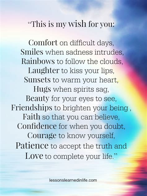 you comfort lessons learned in lifethis is my wish for you lessons