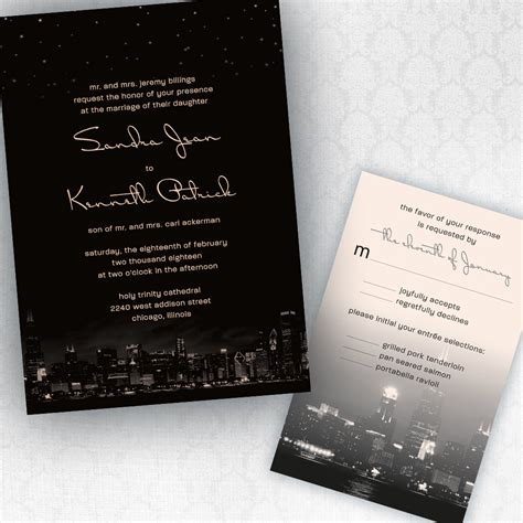 chicago city skyline wedding invitations with