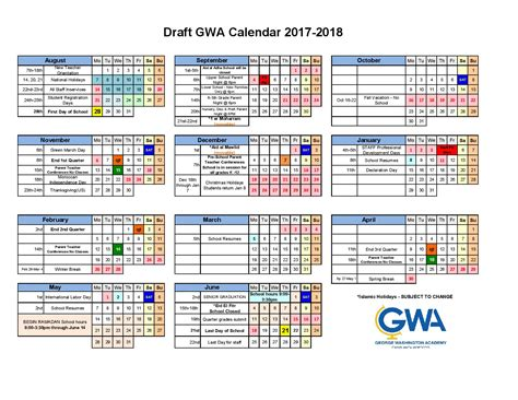 Academic Calendars Academic Calendar George Washington Academy