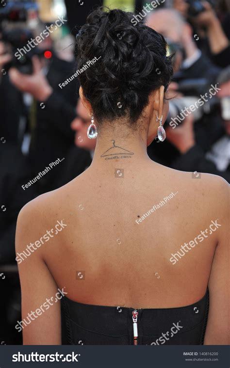 chanel iman hanger tattoo chanel imans neck tattoo visible gala stock photo