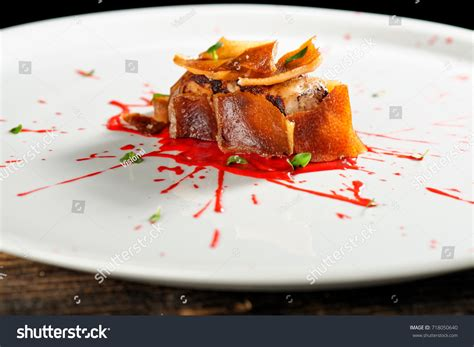 cuisine steak haute cuisine pork confit steak stock photo 718050640