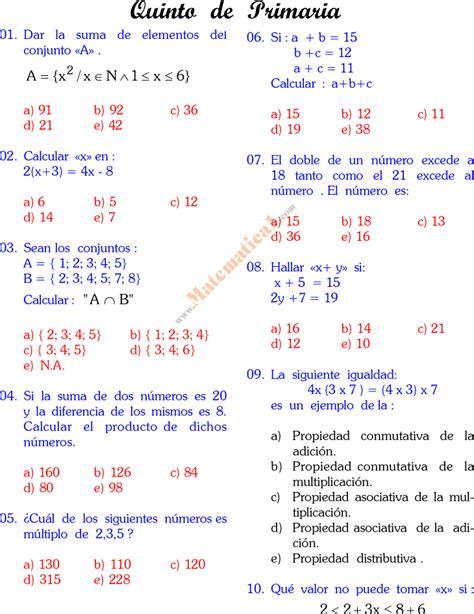 preguntas de matematicas para quinto grado matematica de quinto grado de primaria publicado en 18