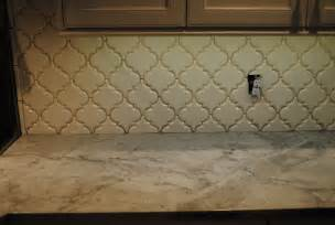 beveled arabesque tile backsplash home design ideas