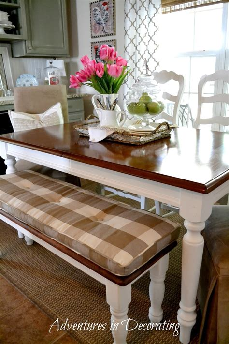 kitchen table bench cushions adventures in decorating it s the little things