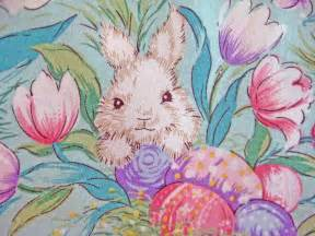 vintage easter tablecloth bunnies baskets pretty spring