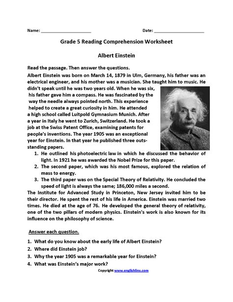 printable biography of albert einstein reading worksheets fifth grade reading worksheets