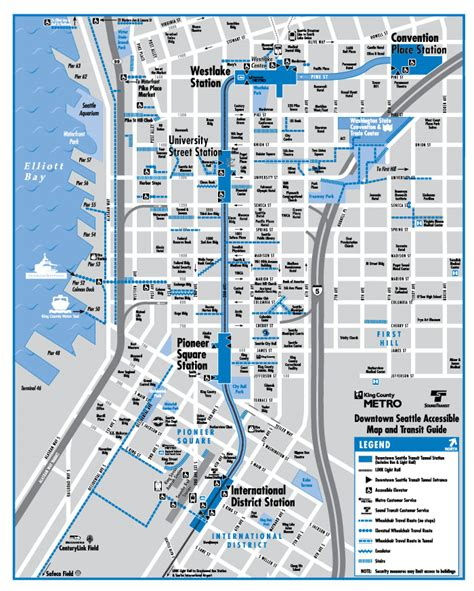 seattle light rail route map downtown seattle accessibility riding the bus