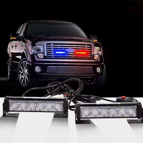 police lights for car grill 2 x6led car emergency beacon hazard strobe warning grille