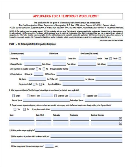 35 Free Job Application Form Template Work Permit Form Template