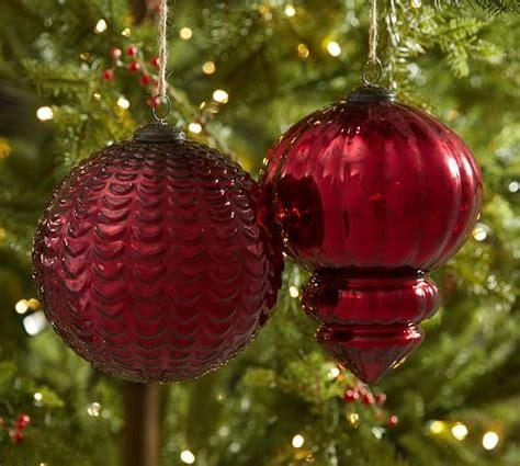 oversized tree ornaments oversized mercury glass ornaments pottery barn