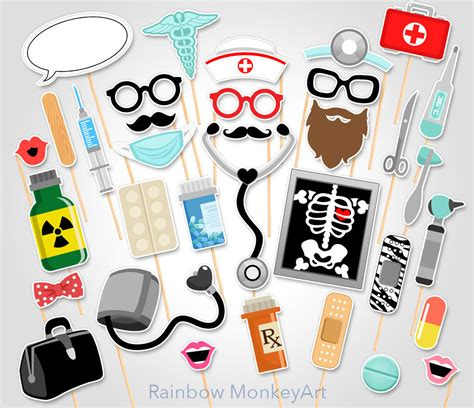 printable nurse photo booth props doctor party printable photo booth props nurse photo booth